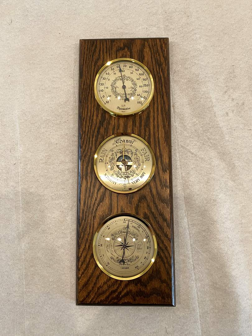 Lot # 10 Wuersch Fall River France Brass Wood Weather Station Thermometer  Barometer Hygro  (main image)