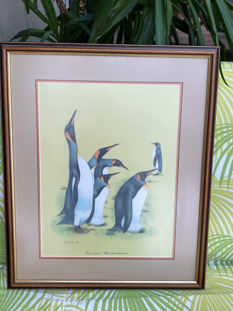 """Lot # 38 King Penguin Framed Print, Artist """"Ian Strange"""" (main image)"""