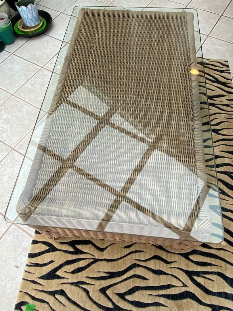 Lot # 223 Wicker Glass Top Coffee Table (main image)
