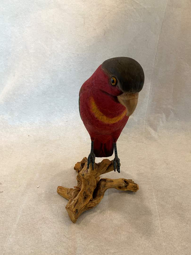 Lot # 25 Wood Parrot on Driftwood (main image)