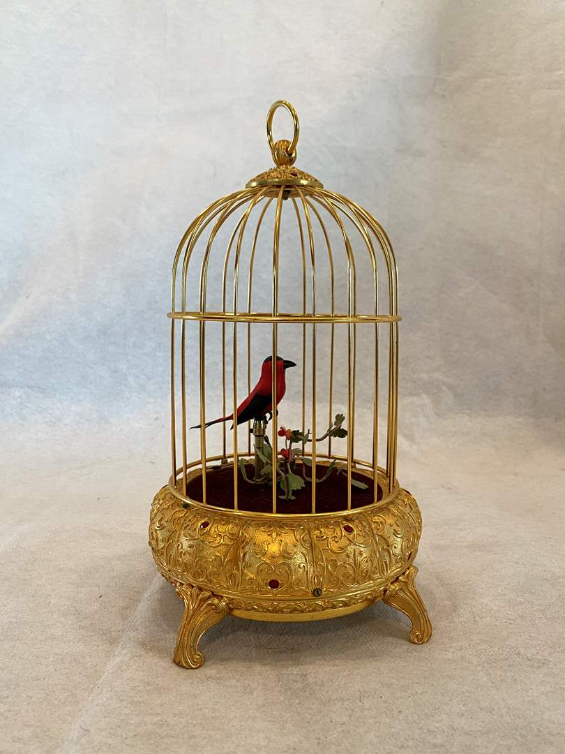 Lot # 53 Windup Musical Caged Bird (main image)