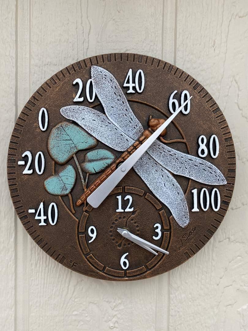 Lot # 206 Dragonfly Clock and Temp Gauge (main image)