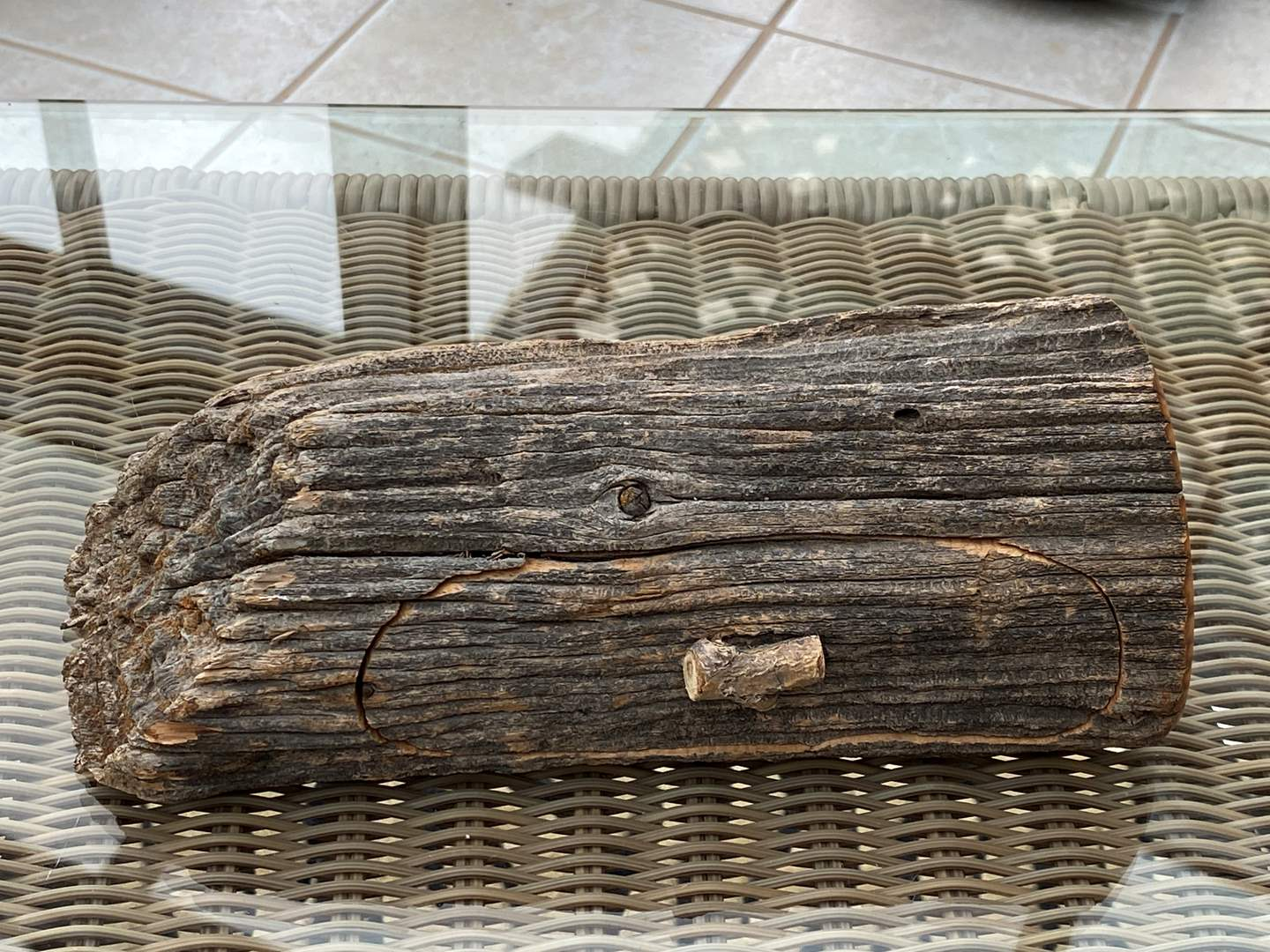 Lot # 211 Wood Log with Small Drawer (main image)
