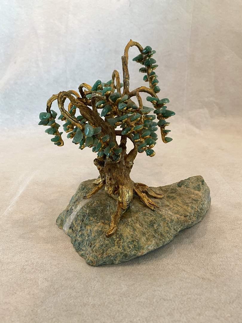 Lot # 47 Jade (??) Gold Embellished Tree Sculpture (main image)