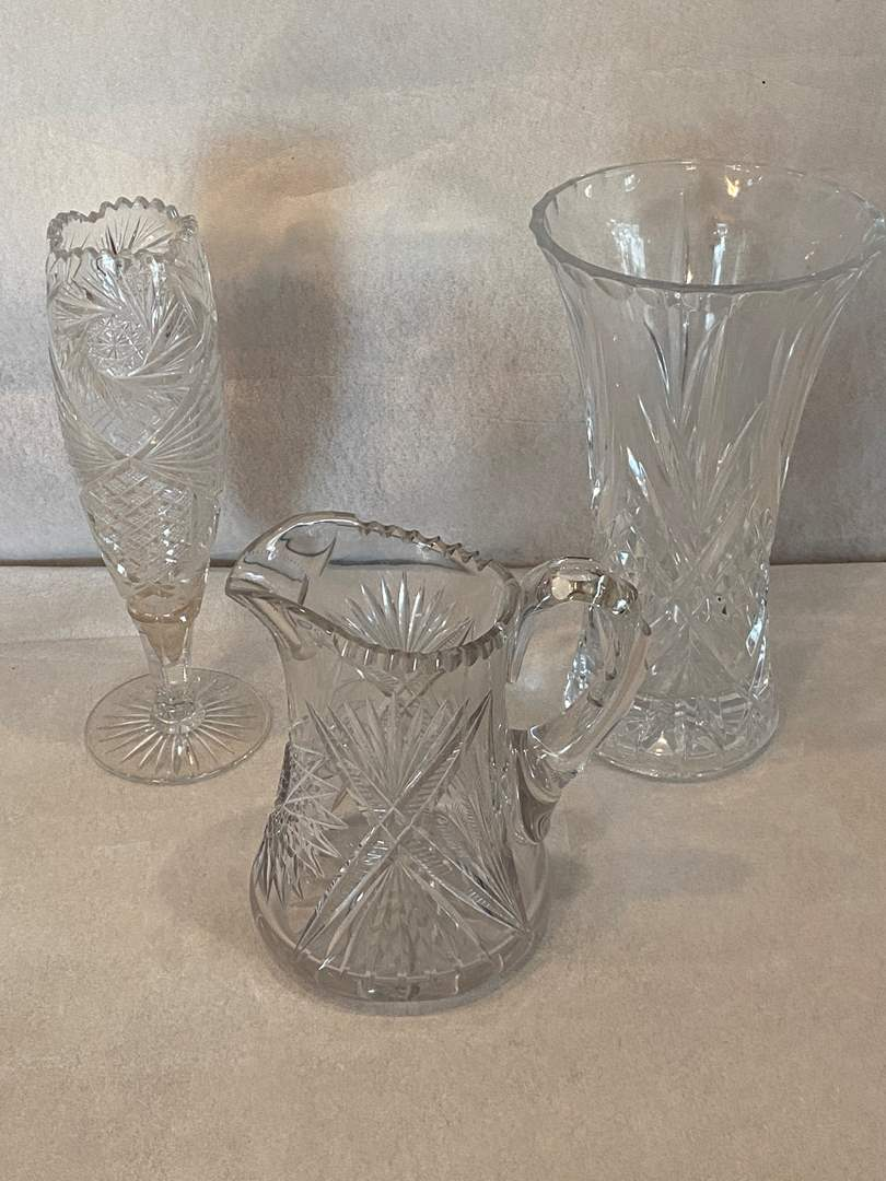 Lot # 60 Lot of Crystal Vases and Pitcher (main image)