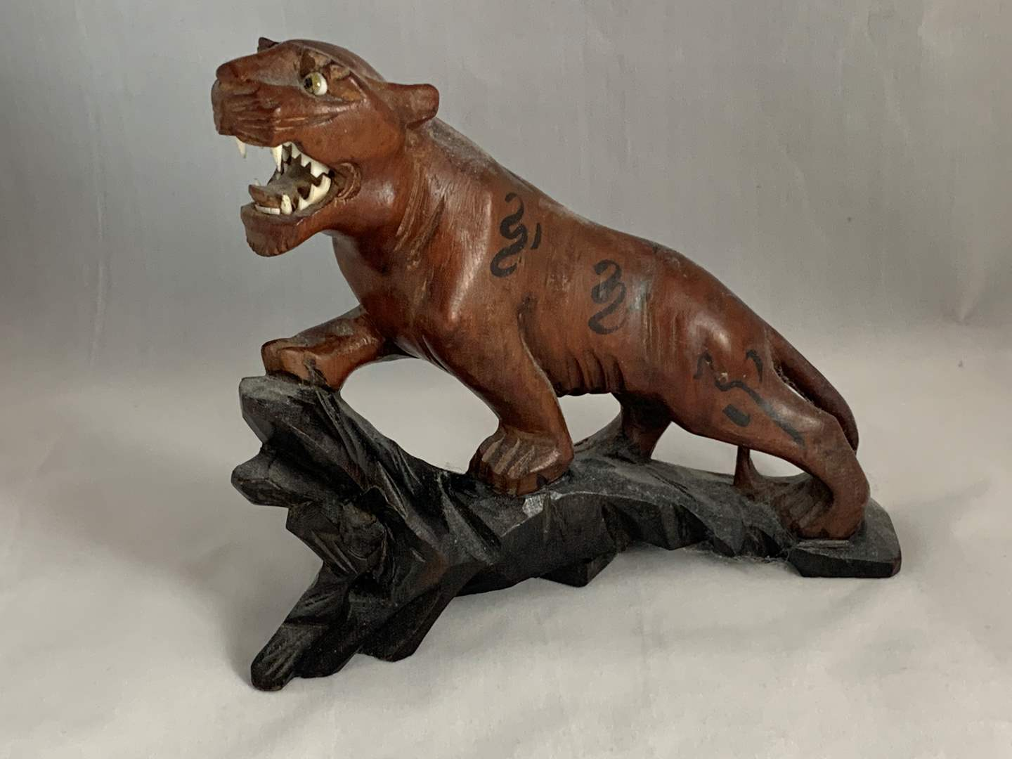 Lot # 132 Wooden Cougar Figurine (main image)