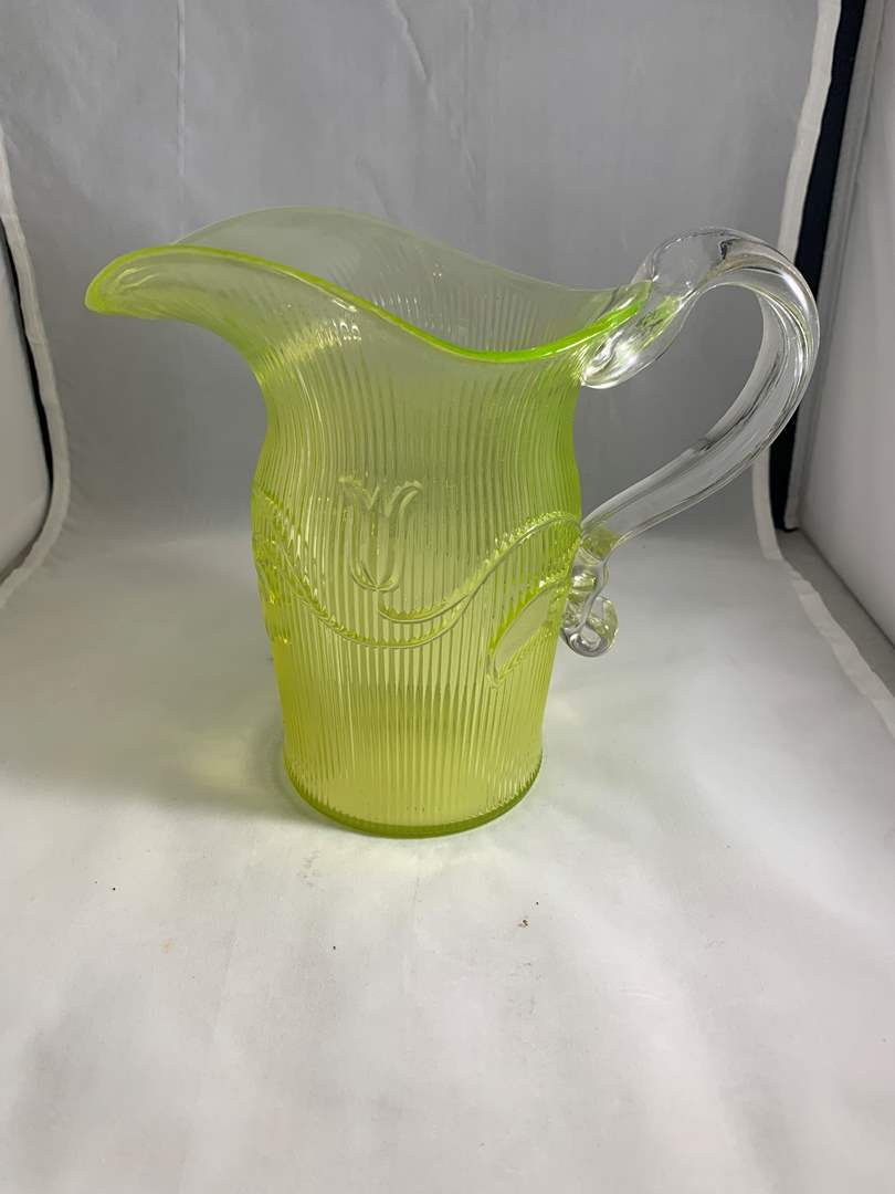 Lot # 89 Imperial MMA Vaseline Glass Yellow Pitcher (main image)