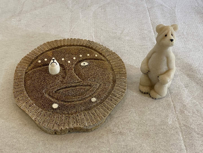 Lot # 129 Thomas Sockpick Eskimo Mask & Polar Bear Figurine (main image)