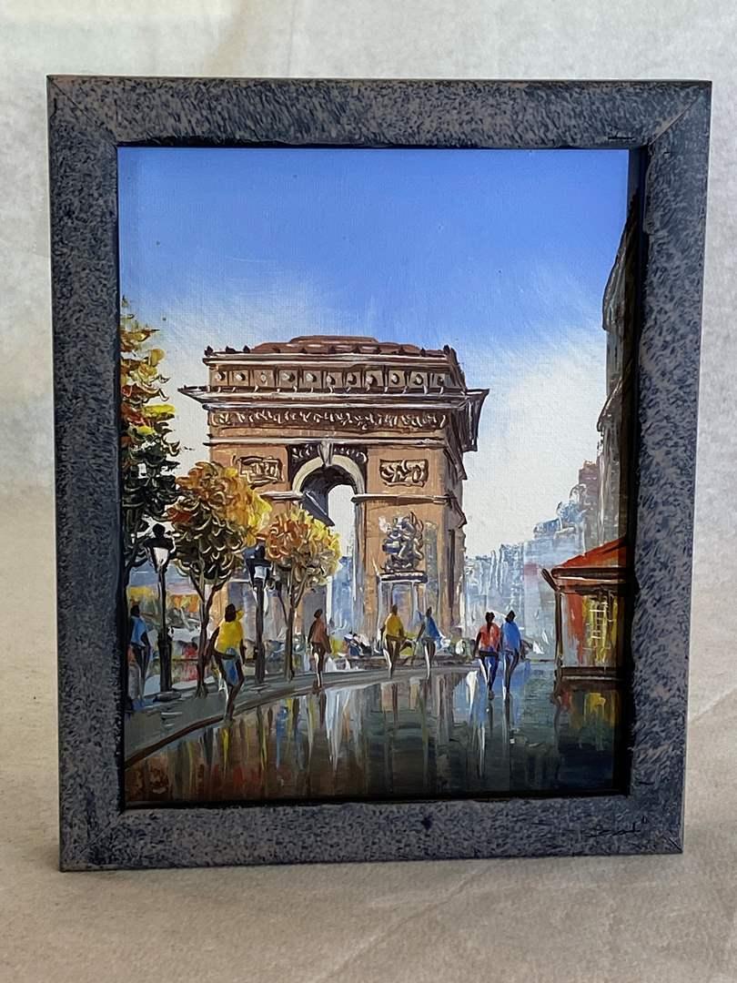 Lot # 128 Small Paris Scene Oil Painting (main image)