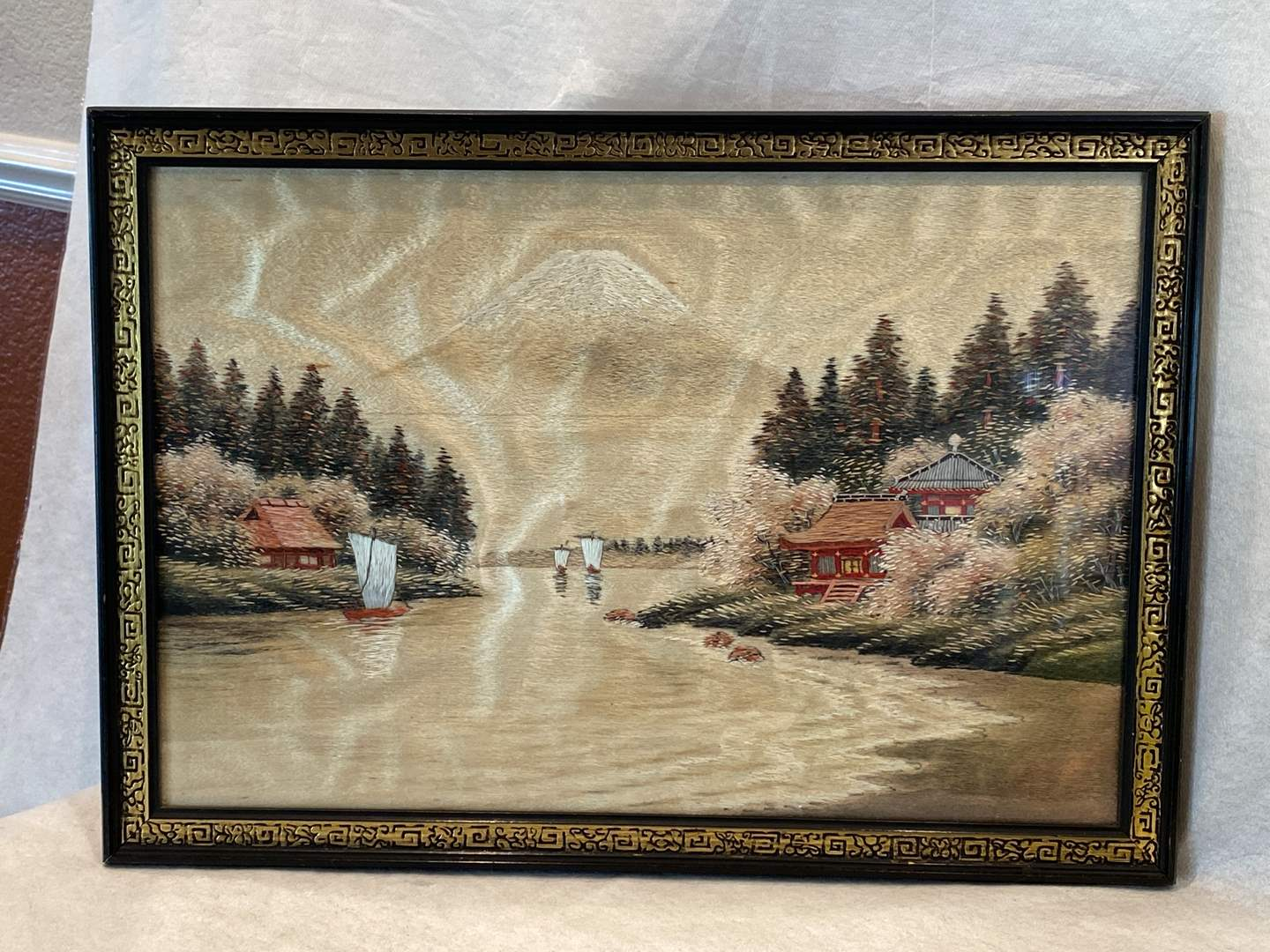 Lot # 84 Framed Silk Embroidery Mt Fuji (main image)