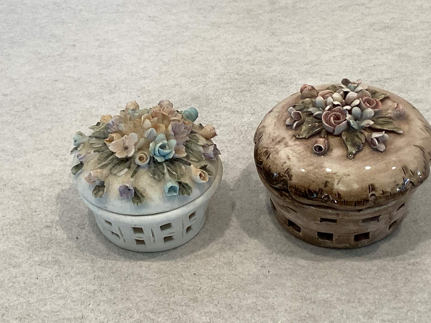 Lot # 126 Lot of 2 Capodimonte Trinket Boxes (main image)