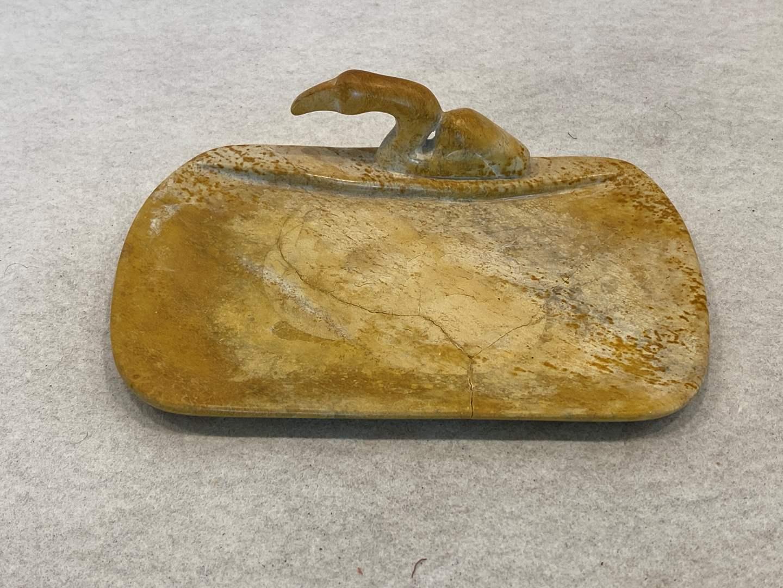 Lot # 167 Marble Stork (?) Soap Dish or Trinket Tray (main image)