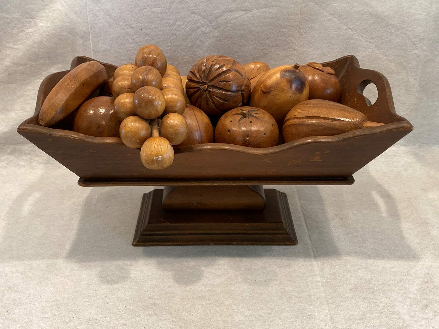 "Lot # 26 Wood Square ""Bowl"" with Wood Fruit (main image)"