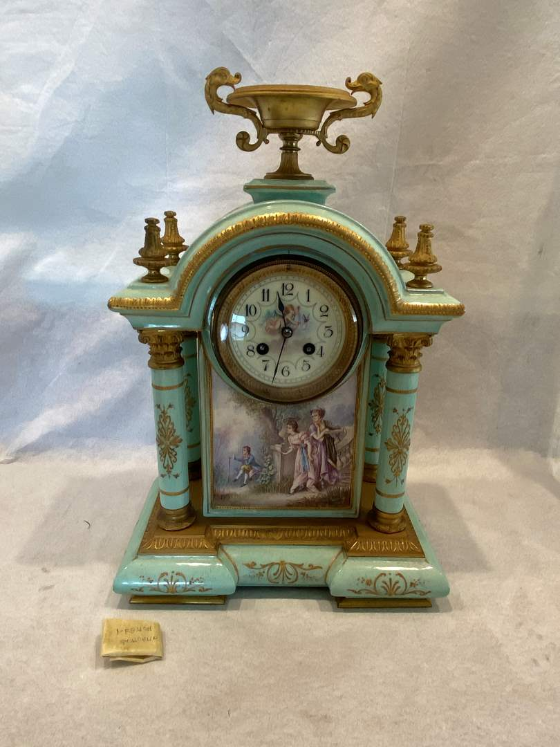 Lot # 23 Made in France Porcelain (Heavy!) Mantle Clock (main image)