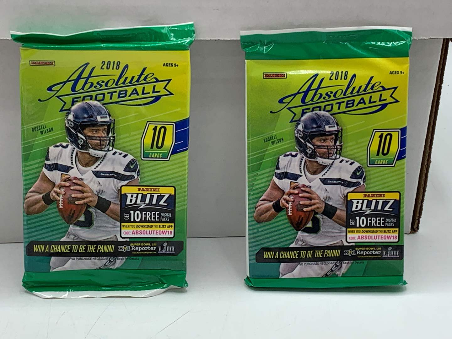 Lot # 90 Lot of TWO 2018 Absolute Football Packs (main image)