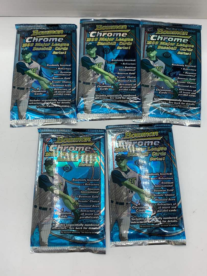 Lot # 219 Lot of 5 Sealed Packs 1999 Bowman Chrome MLB Series 1 Cards (main image)