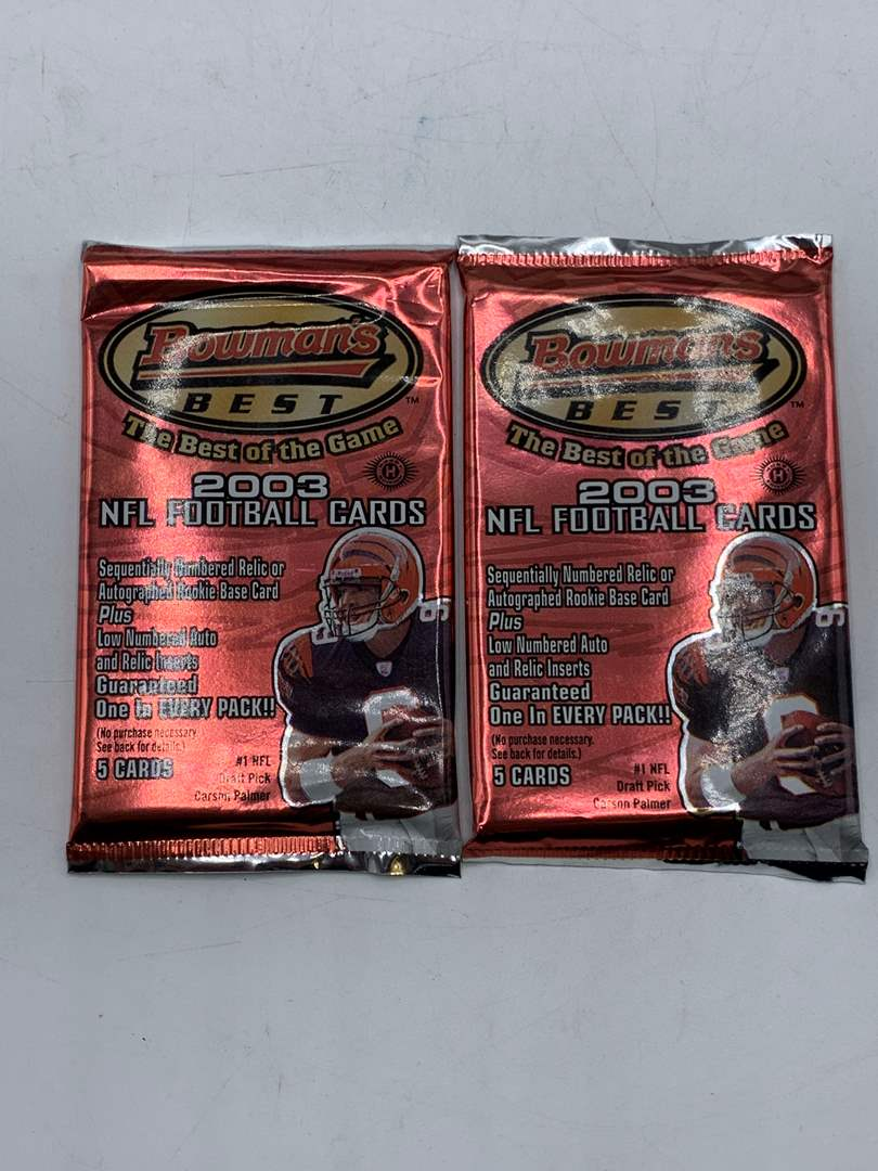 Lot # 223 Lot of 2 Sealed Bowman's Best 2003 NFL Football Card Packs (main image)