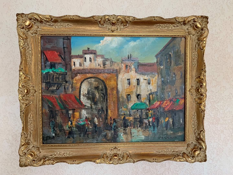 """Lot # 11 Original Oil Paris Scene, Artist Signed """"Valerio"""" (main image)"""