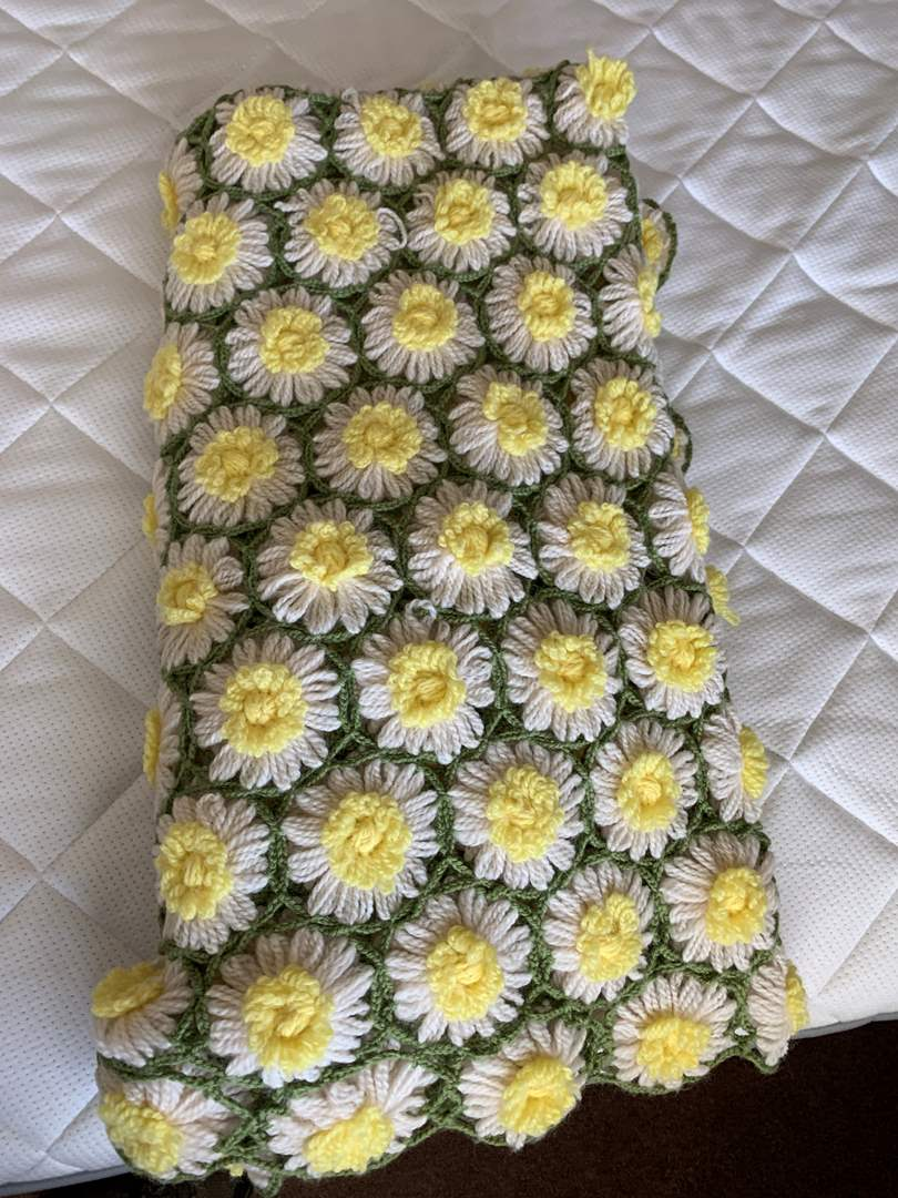 Lot # 17 Adorable Daisy Knitted Blanket Throw (main image)