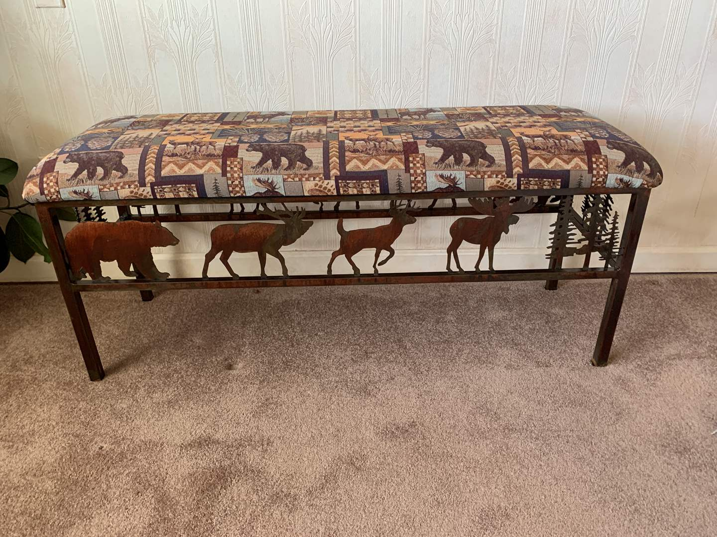 Lot # 19 Upholstererd Bench with Metal Frame (main image)