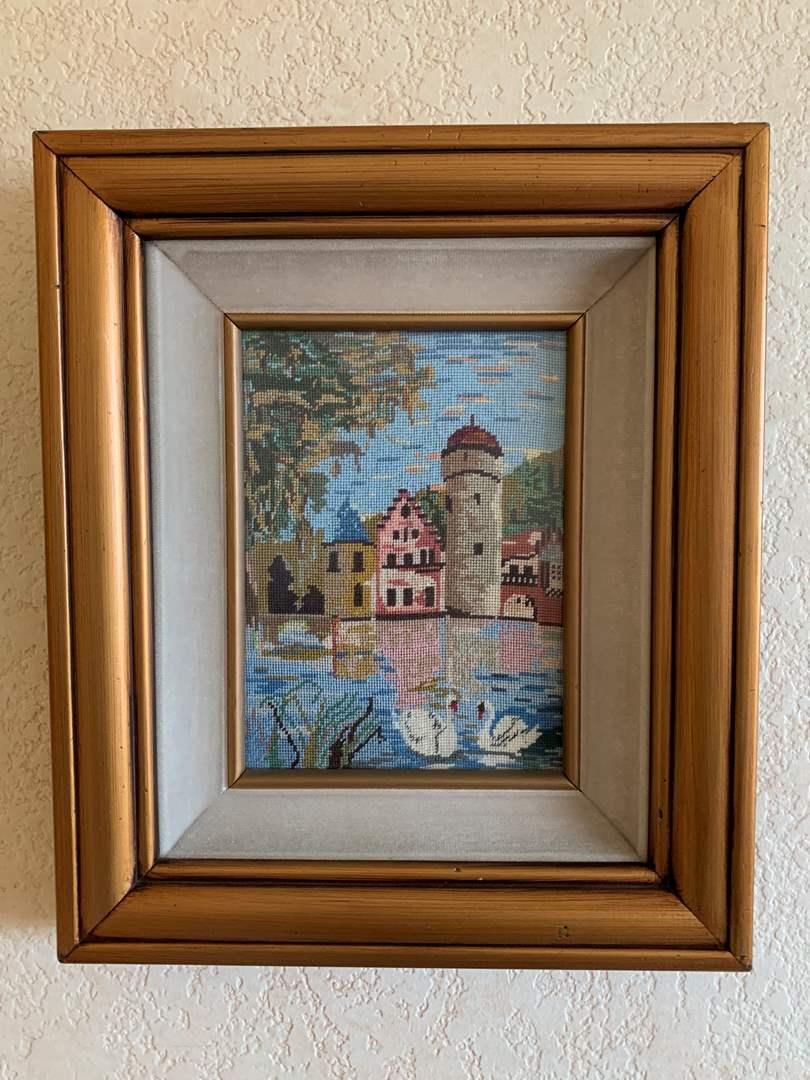 Lot # 13 Woven Framed Pond Art (main image)