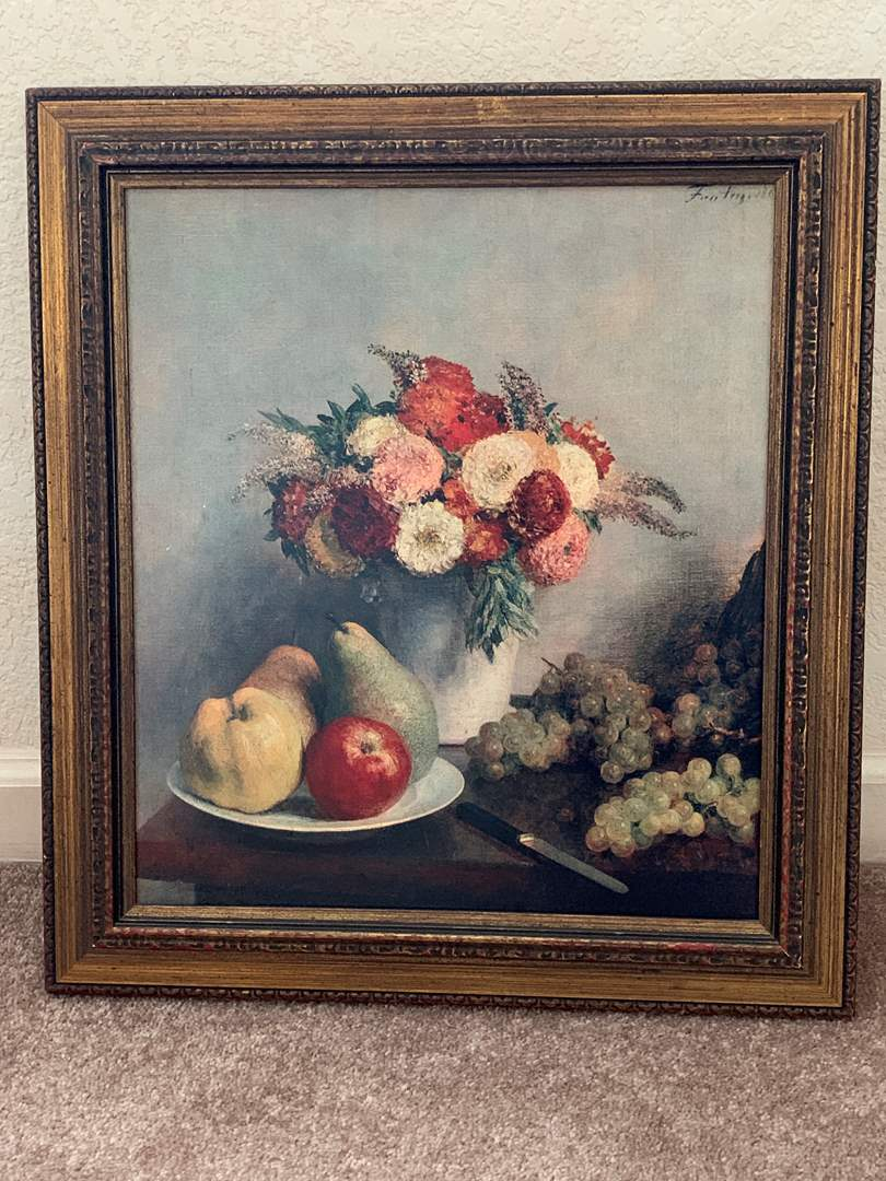 Lot # 4 Framed Flowers and Fruit Print (main image)