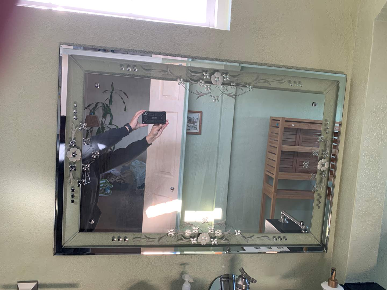 Lot # 24 Large Floral Design Beveled Glass Mirror (main image)