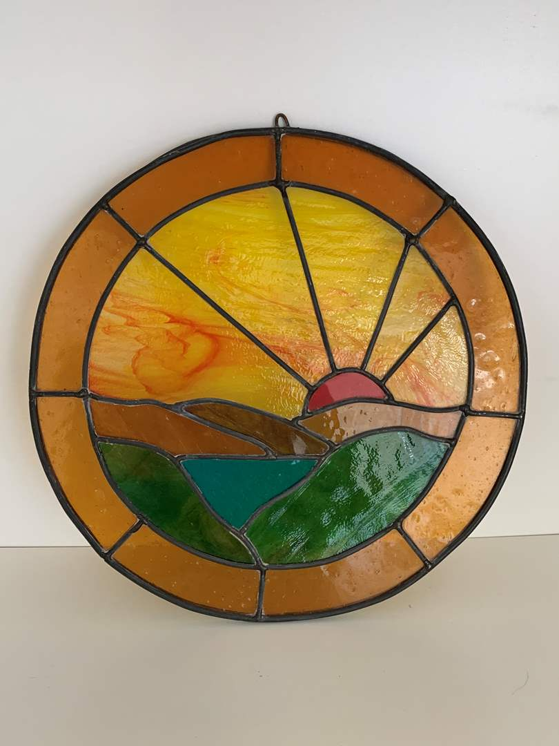 Lot # 41 Stained Glass Sunset Wall Art (main image)
