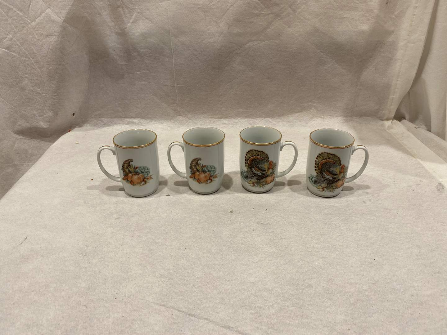 Lot # 100 Fitz and Floyd Porcelain Thanksgiving Cups (main image)