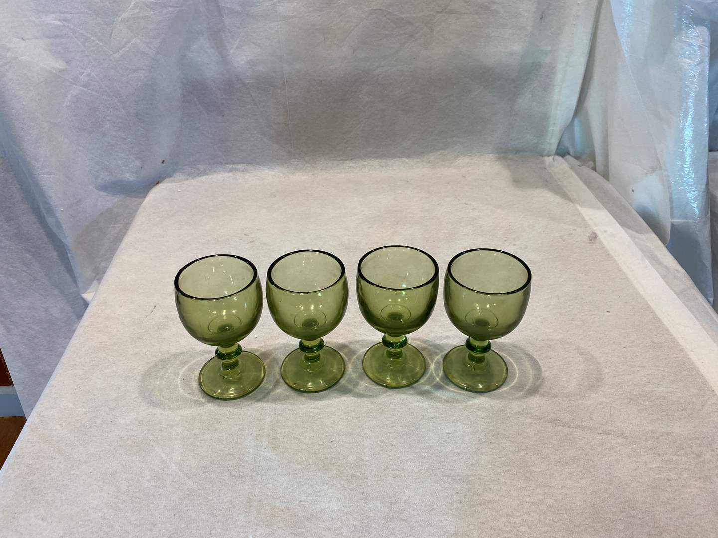 Lot # 101 Set of 4 Green Glass Goblets (main image)