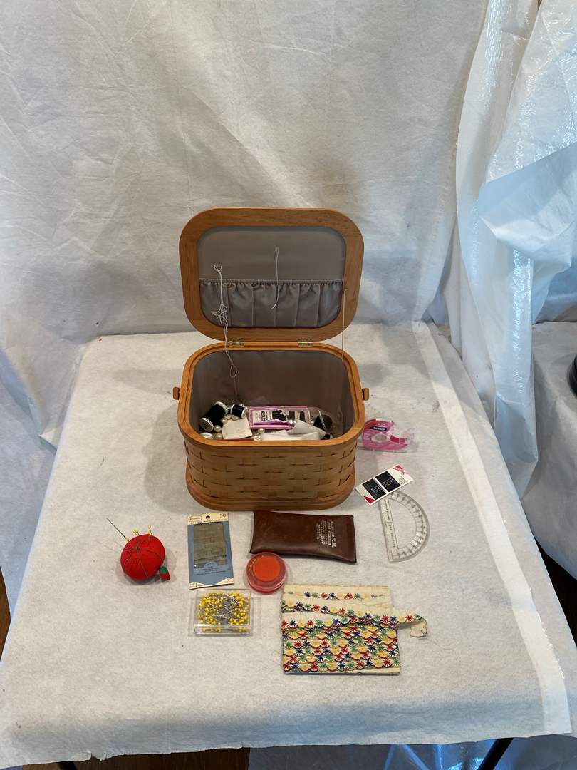 Lot # 70 Basket of Sewing Items (main image)