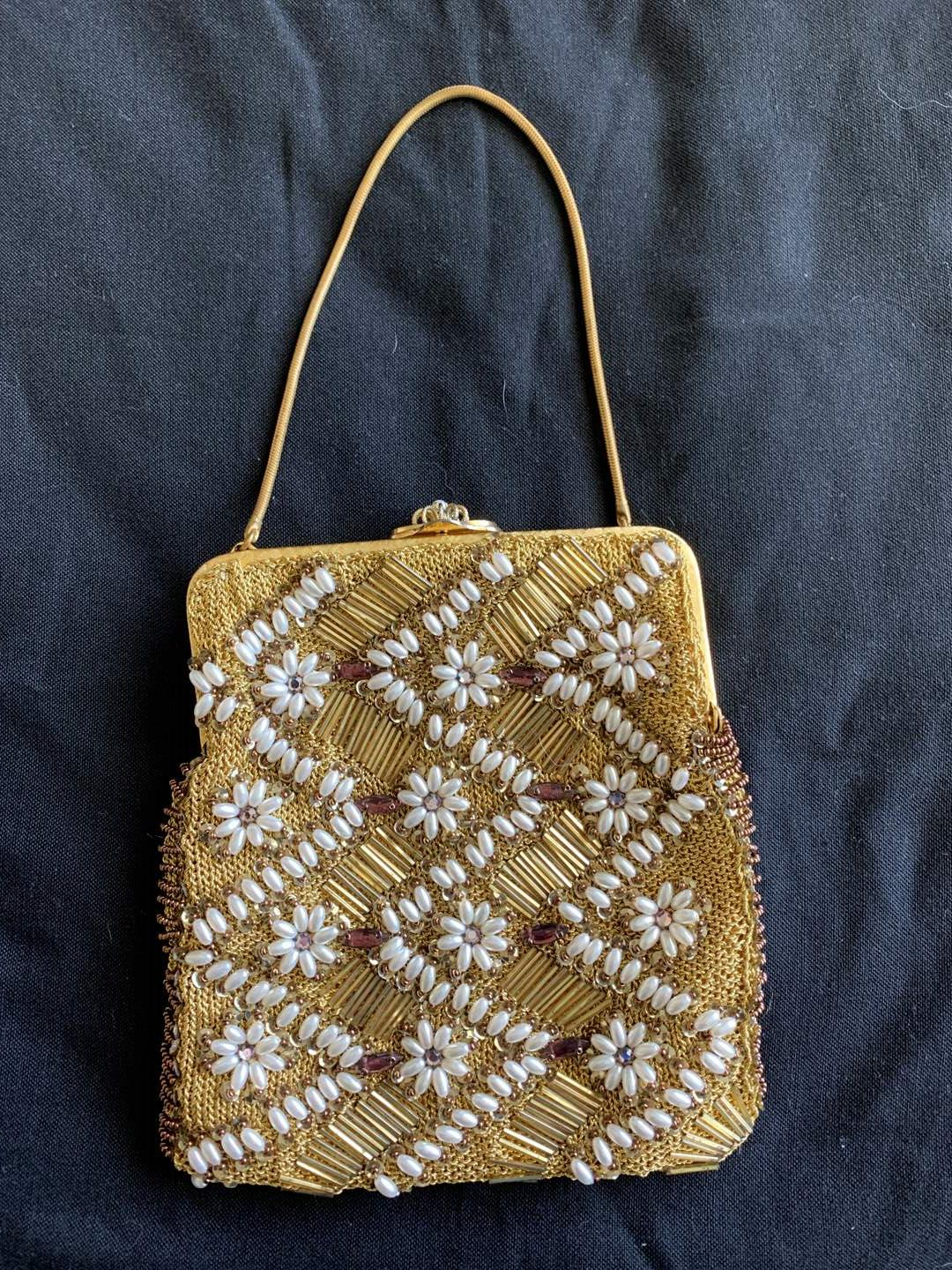 Lot # 32 Floral Beaded Purse (main image)