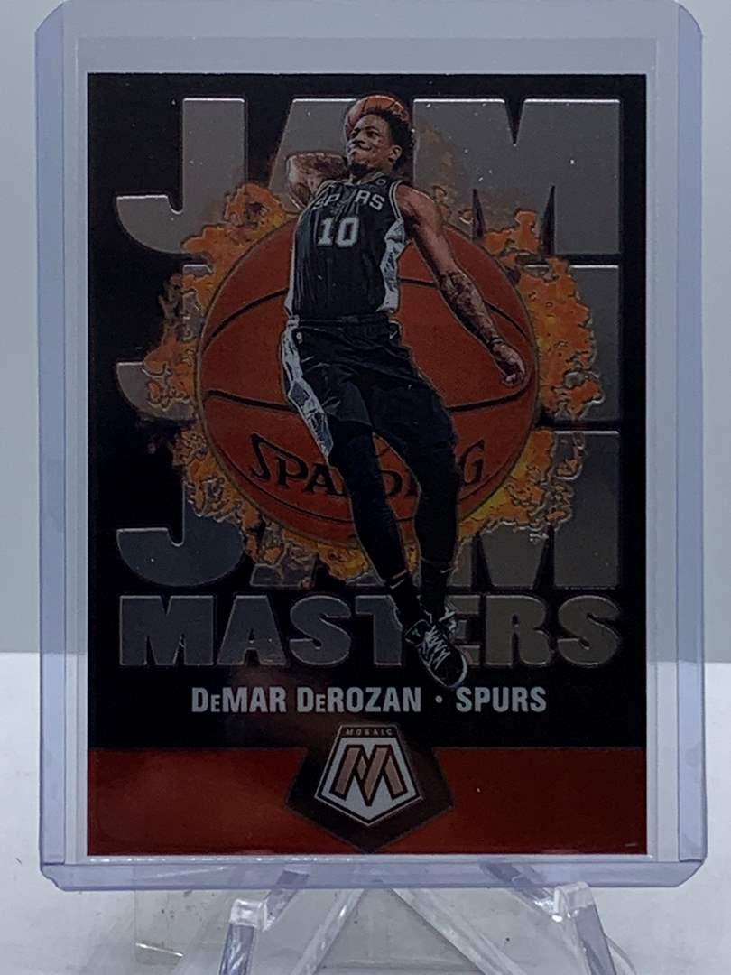 Lot # 148 2019-20 Panini Mosaic DEMAR DEROZAN Jam Masters Spurs (main image)