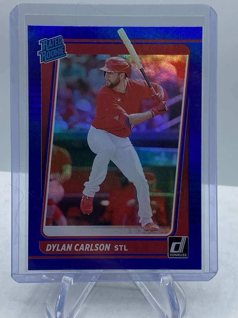 Lot # 186 2021 Panini Donruss Baseball DYLAN CARLSON Rated Rookie (main image)