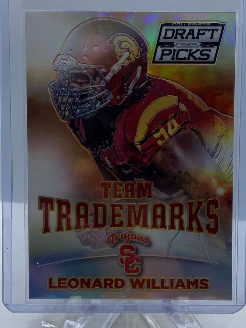 Lot # 222 2015 Panini Collegiate Draft Picks Football LEONARD WILLIAMS Team Trademarks (main image)