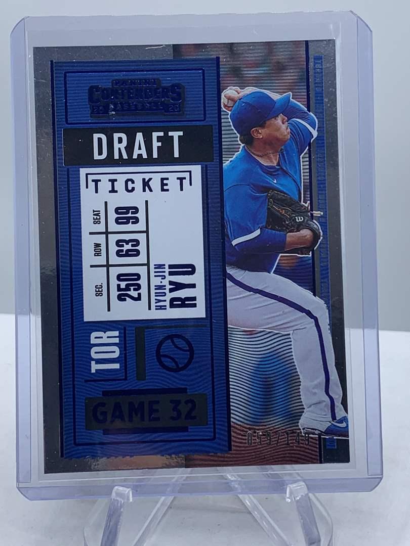 Lot # 258 2020 Panini Contenders Baseball HYUN-JIN RYU Draft Ticket #59/149 (main image)