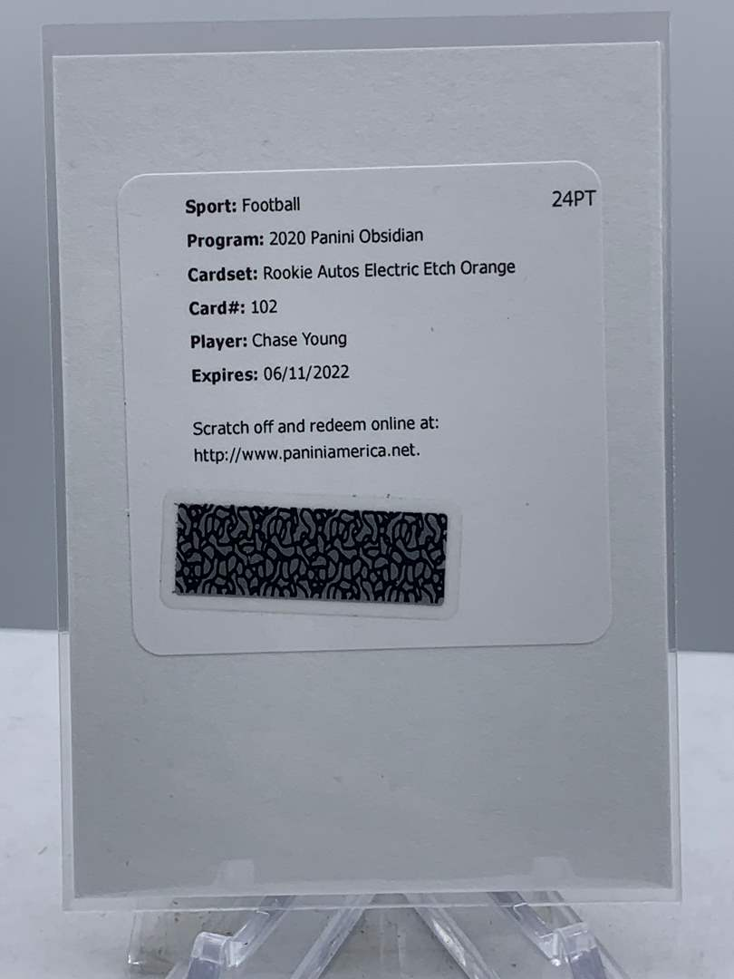 Lot # 293 2020 Panini Obsidian Football CHASE YOUNG Rookie Autos Electric Etch Orange /99 Redemption Card (main image)
