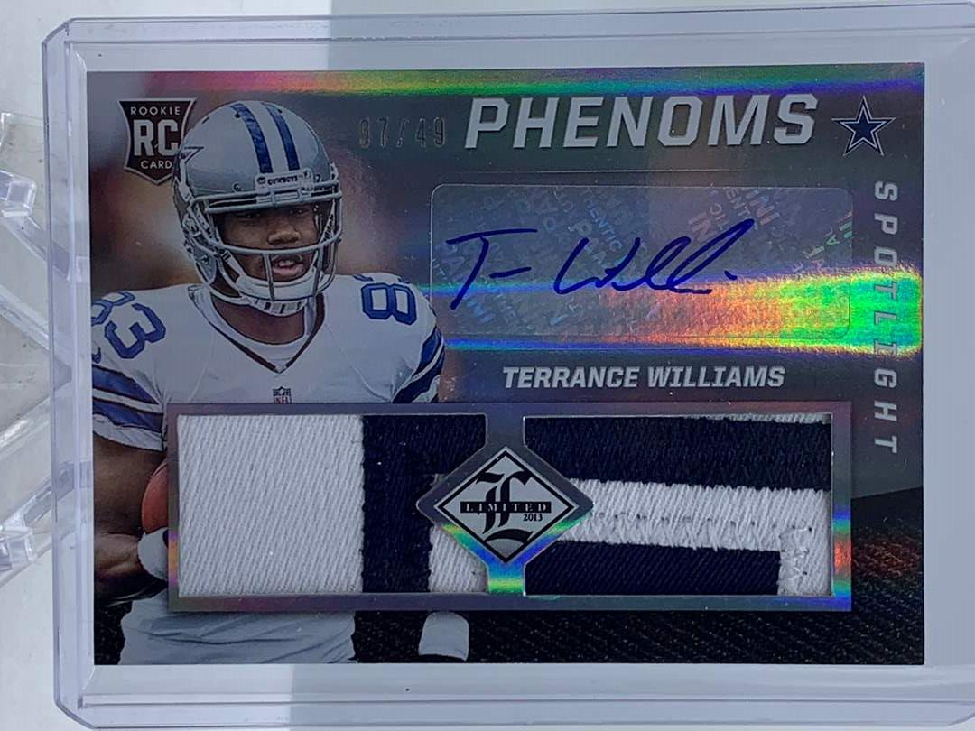 Lot # 136 2013 Panini Limited TERRANCE WILLIAMS RC Patch Auto Phenoms #7/49 (main image)