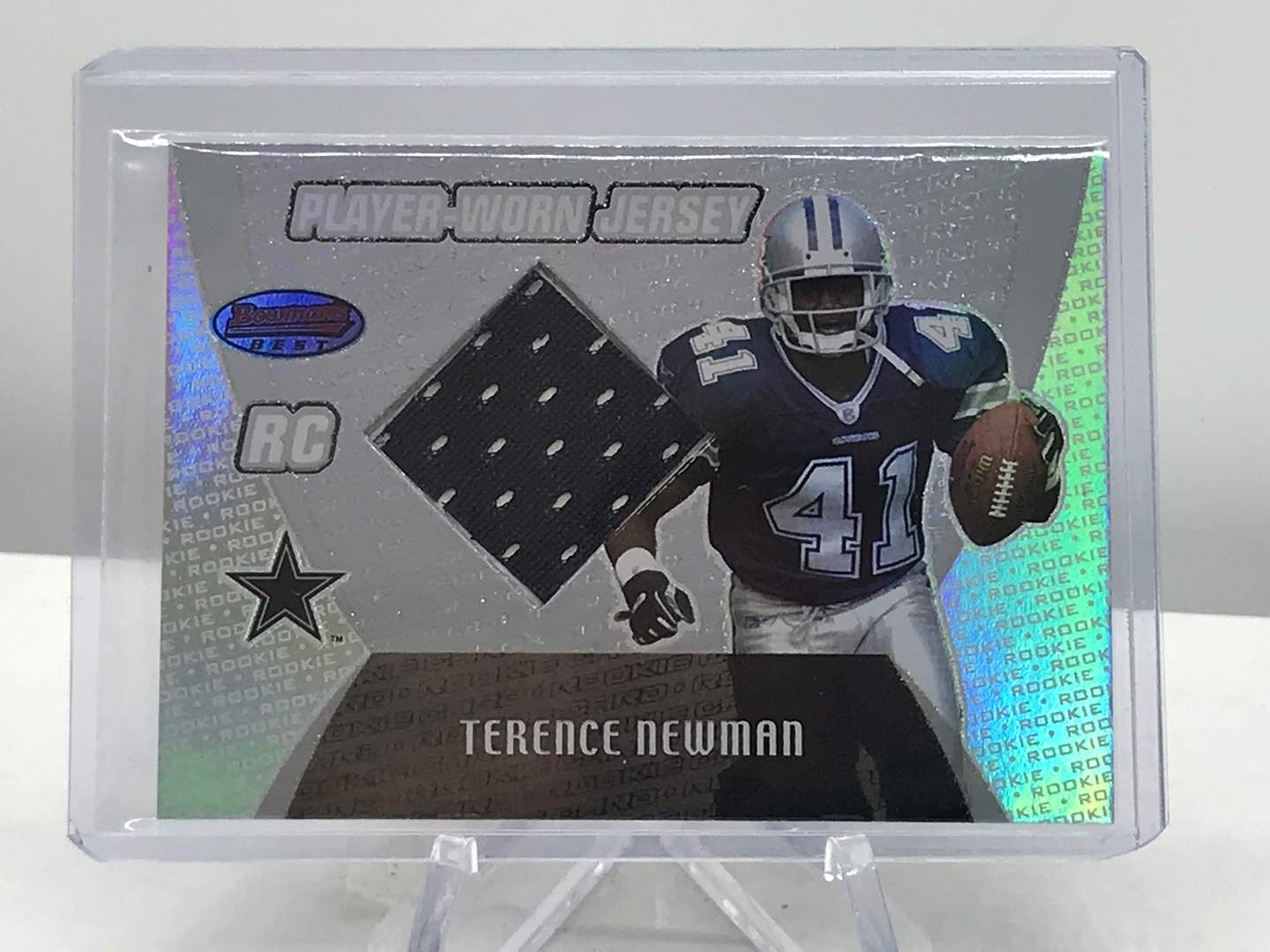 Lot # 271 2003 Bowman's Best RC Jersey Card TERENCE NEWMAN (main image)