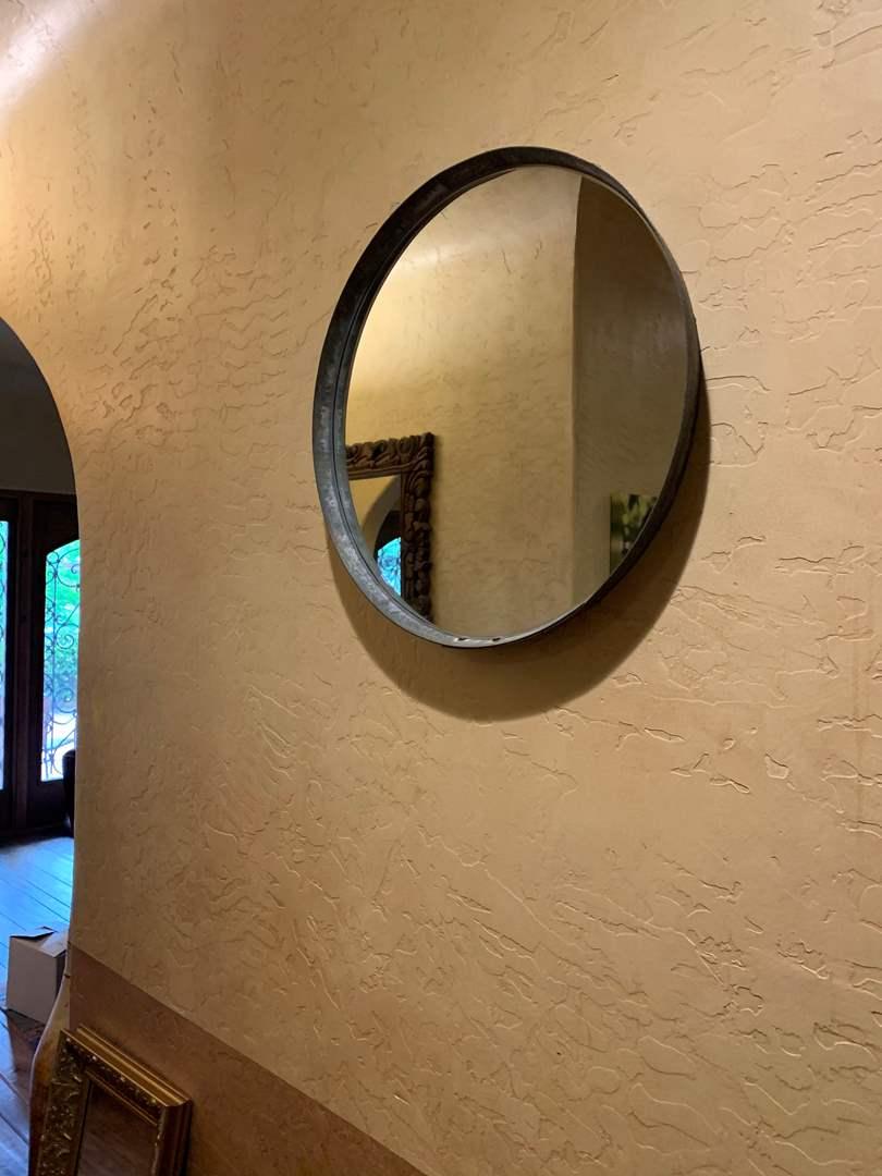 Lot # 102 Repurposed Wine Barrel Hoop Round Mirror 24 x 24  (main image)