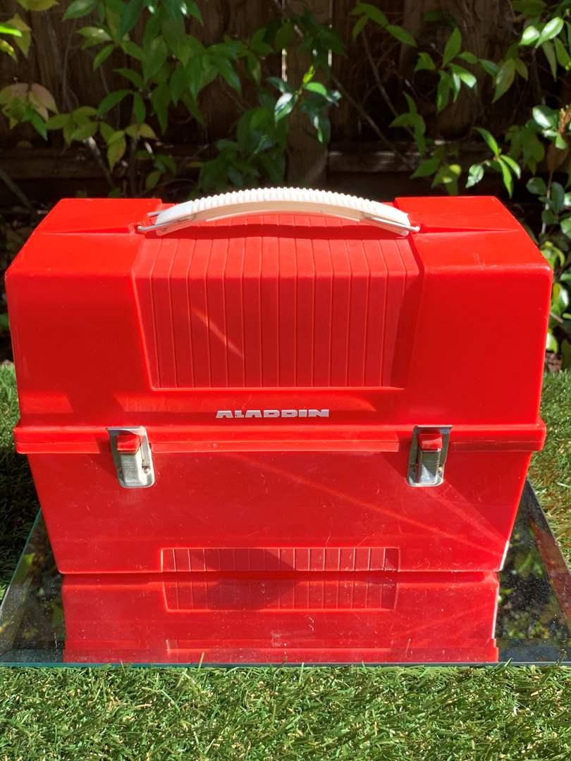 Lot # 18 Vintage Aladdin Red Lunch Box (plastic) (main image)