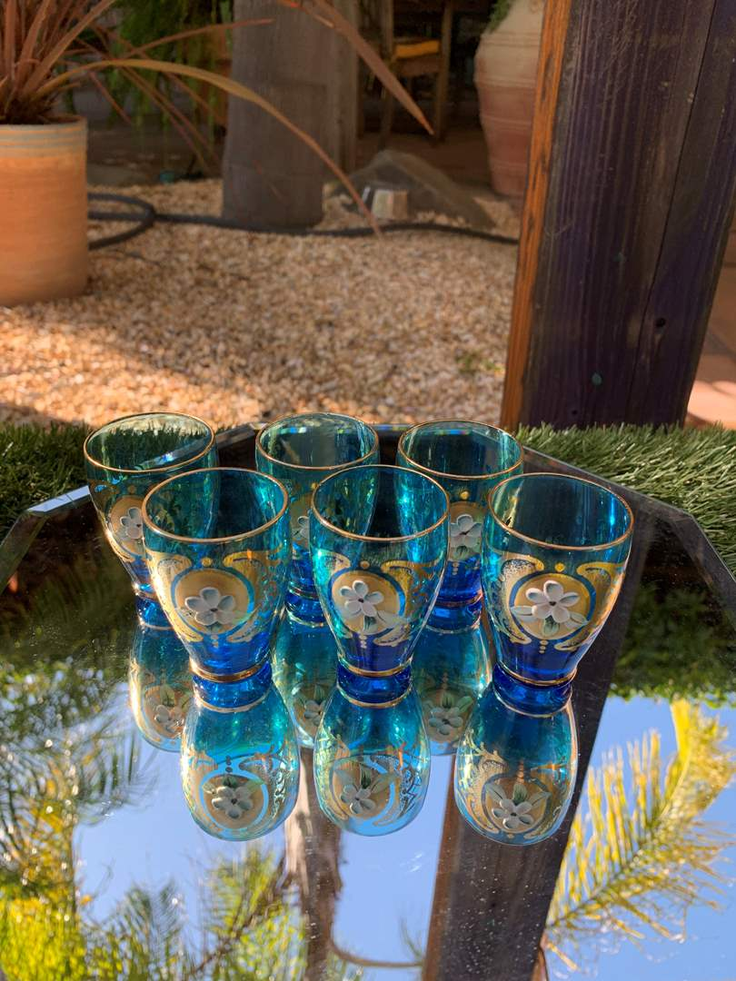 Lot # 13 Vintage Hand Painted Turquoise Shot Glasses (main image)