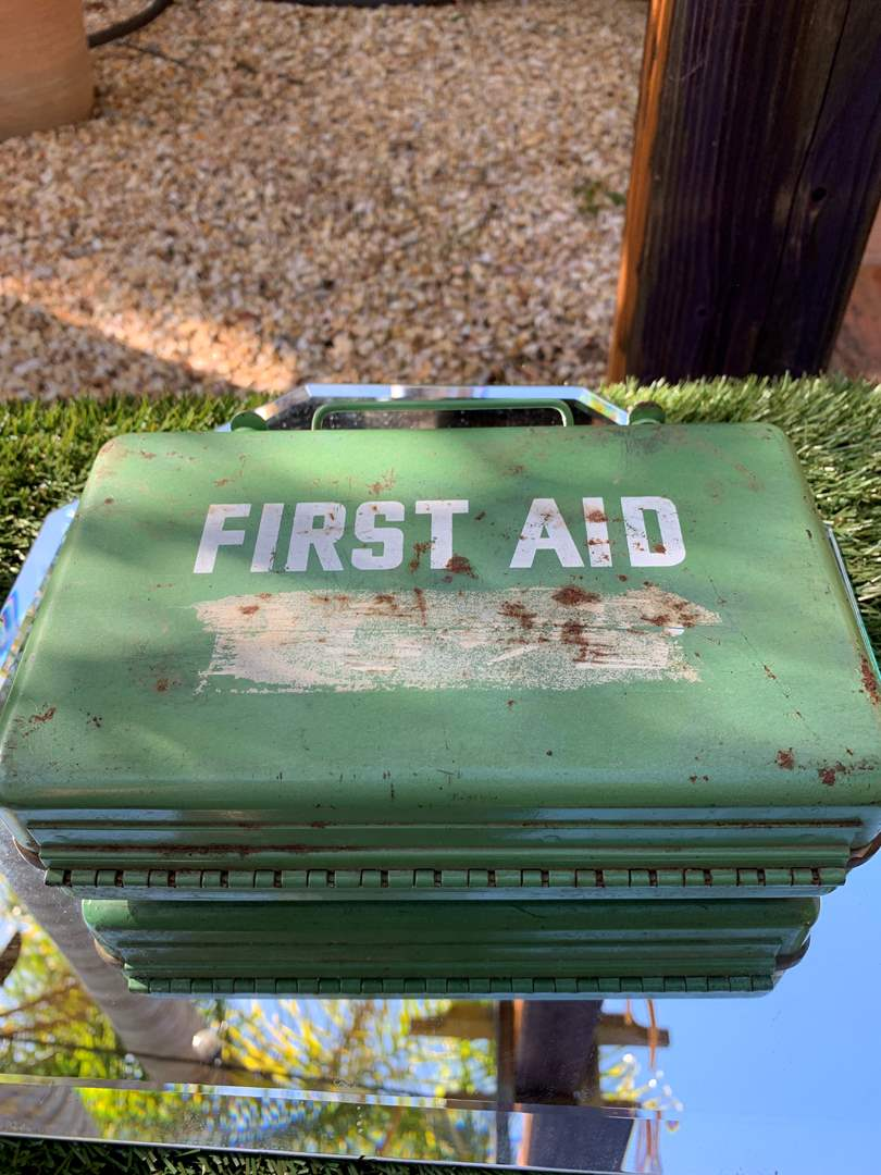 Lot # 39 Antique Metal First Aid Kit w/ contents (main image)