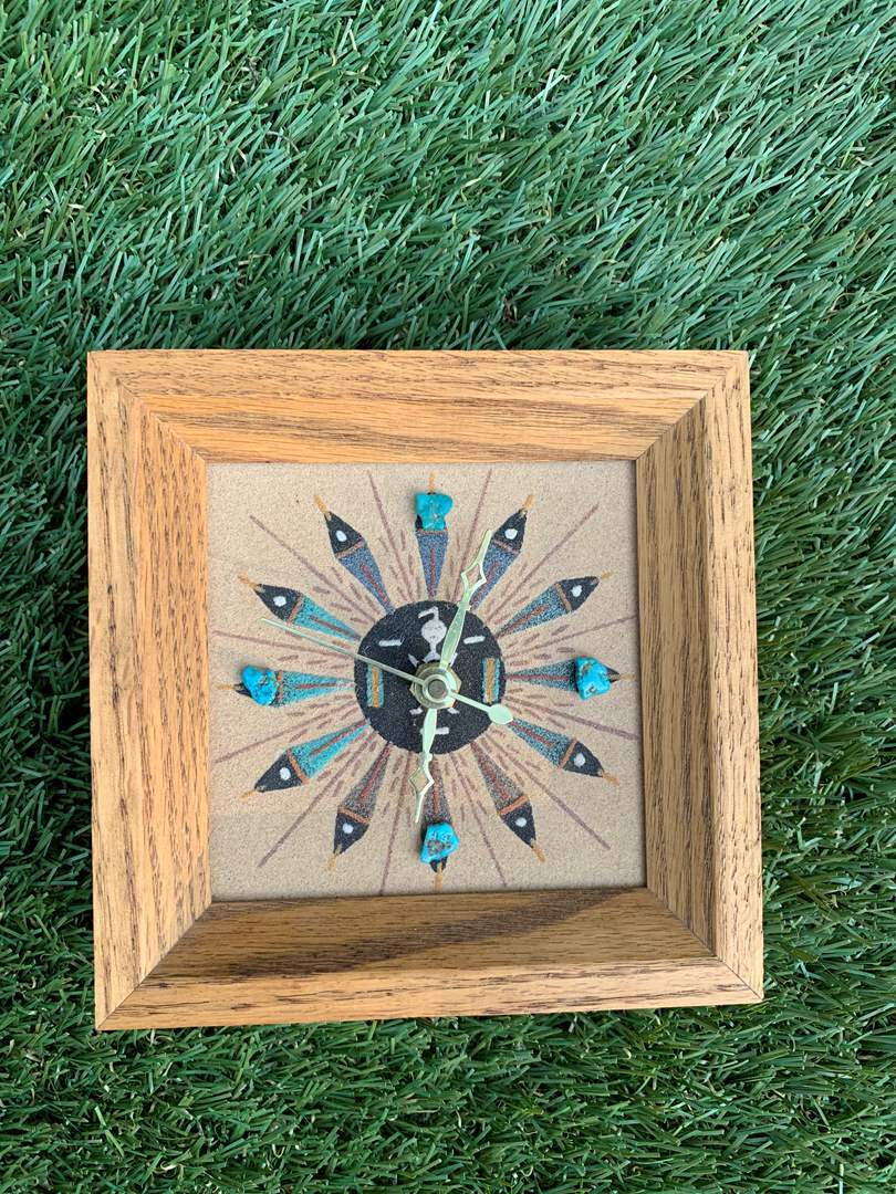 Lot # 54 Vintage Wooden Southwest Small Clock with Turquoise Stones (main image)