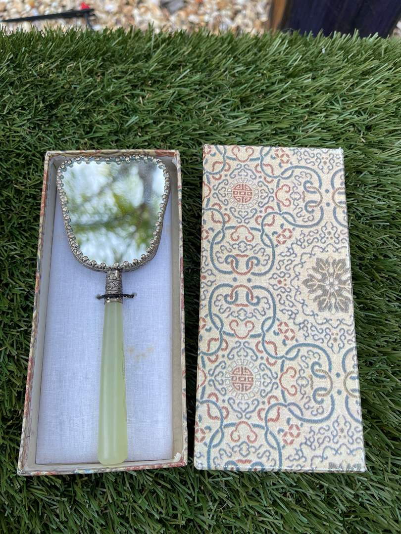 Lot # 56 Vintage Asian Enameled Hand Mirror with Jade Handle (main image)
