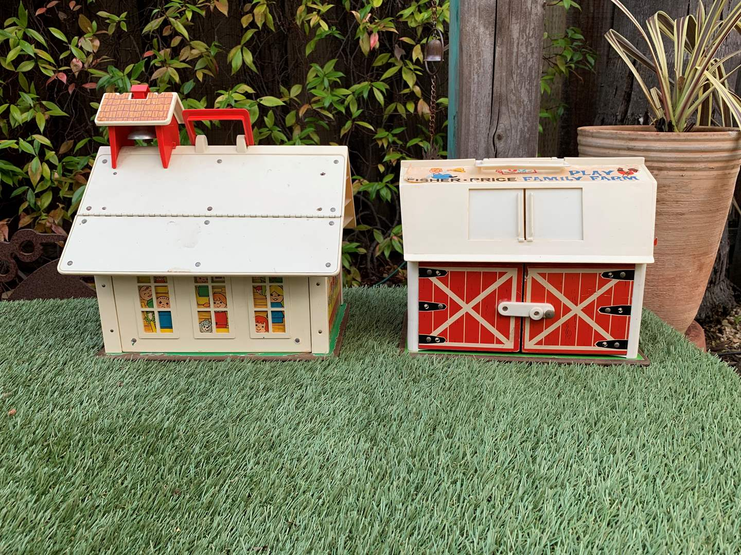 Lot # 41 Vintage Fisher Price - Toy School House and Barn (main image)