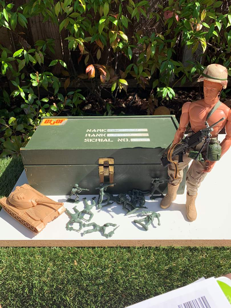 Lot # 82 Vintage G.I. Joe Wooden Box with doll and toy soliders (main image)