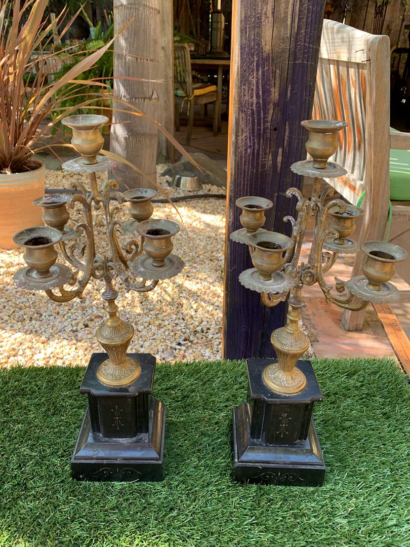 Lot # 98 Antique Brass Candelabra on Marble (?) Base  (main image)