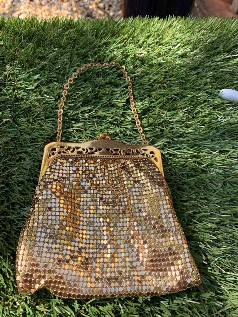 Lot # 107 Vintage Whiting & David Gold Chain Mail Mesh Purse Evening Bag (main image)