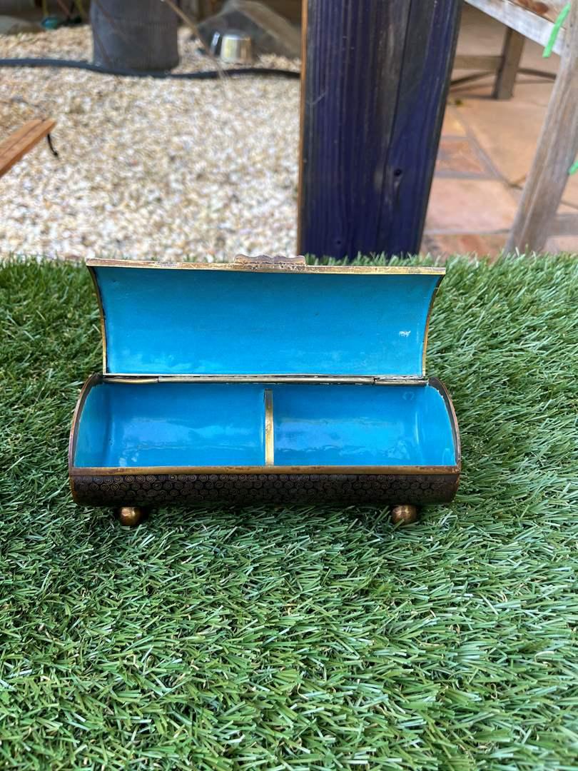 Lot # 120 Vintage Art Deco Cloisonné Footed Jewelry Box (main image)